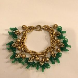 Vintage Napier Green Glass Elephant Charm Bracelet